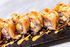 Salmon Roll Sushi. Japanese Food style royalty free stock photo