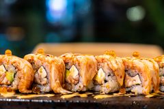 Salmon Roll Sushi. Japanese Food style stock photography