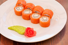 Salmon roll sushi Stock Photography