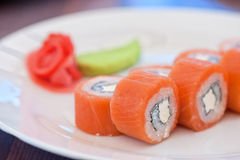 Salmon roll sushi Royalty Free Stock Images