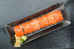 Salmon roll top view. For  restaurant menu Stock Photography