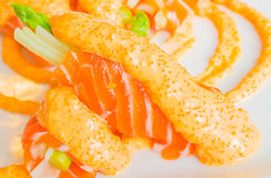 Salmon roll. In white dish Stock Photo