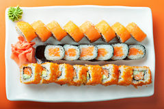 Salmon rolls above view Stock Images