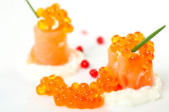 Salmon rolls with caviar Royalty Free Stock Photo