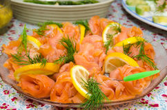 Salmon rolls at a plate Royalty Free Stock Image