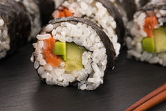 Salmon rolls served on a plate Royalty Free Stock Photo