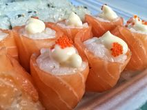 Salmon Rose  sushi. Salmon Rose sushi Stock Images