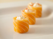 Salmon Rose Sushi. Three pieces of salmon rose sushi Royalty Free Stock Photo