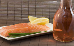 Salmon and rose wine Royalty Free Stock Image