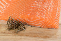 Salmon with rosemary. Closeup of salmon with rosemary Stock Photo