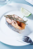 Salmon with rosemary and lime slice Stock Photo