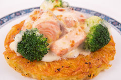 Salmon Rosti served with boiled broccoli and white bechamel sauce Stock Photos