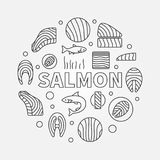 Salmon round illustration - vector red fish outline symbol. Salmon round illustration - vector circular symbol made with fillet, steak and other red fish line Stock Images