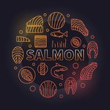 Salmon round illustration - vector colored fish meat sign. Salmon round creative illustration - vector colored circular sign made with fillet, steak and other Stock Photography