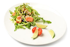 Salmon and ruccola fresh salad on plate isolated on white Stock Photography