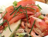 Salmon Salad. Smoked salmon salad with tuna and prawns royalty free stock images
