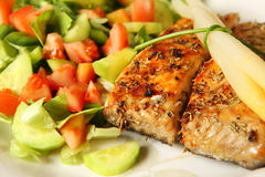 Salmon on salad Royalty Free Stock Photography