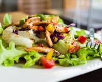 Salmon salad. Smoked salmon salad for healthy eating Royalty Free Stock Image