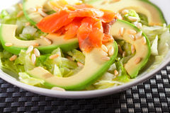 Salmon salad with avocado Stock Images