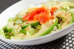 Salmon salad with avocado Stock Photos