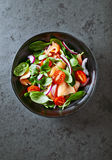 Salmon salad with baby spinach and corn salad Stock Photography