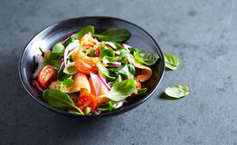 Salmon salad with baby spinach and corn salad Royalty Free Stock Photo