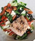 Salmon salad with black olives Royalty Free Stock Image