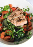 Salmon salad with black olives Stock Images