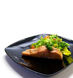 Salmon with salad on black plate. Grilled salmon with salad on black plate Royalty Free Stock Photos