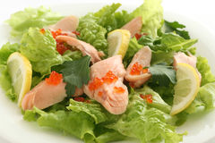 Salmon salad with caviar Royalty Free Stock Photo