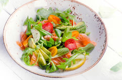 Salmon salad with cherry tomatoes Stock Photography