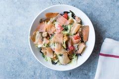 Salmon Salad com pães ralados e queijo parmesão do pão torrado Fotos de Stock Royalty Free