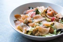 Salmon Salad com pães ralados e queijo parmesão do pão torrado Foto de Stock Royalty Free