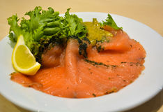 Salmon salad on the dish Royalty Free Stock Photography