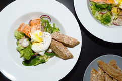 Salmon Salad with Egg Benedict Royalty Free Stock Image