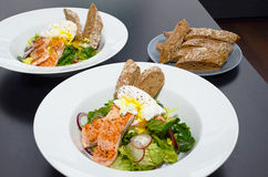 Salmon Salad with Egg Benedict Stock Images