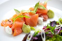 Salmon salad with green asparagus Stock Photos