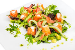 Salmon salad with greens and vegetables Stock Images