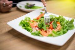Salmon Salad ist auf einer gesetzten Platte Stockfoto