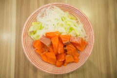 Salmon salad, Japanese food. Woodden background Stock Photo