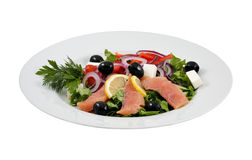 Salmon salad, olives, cheeses and vegetables Royalty Free Stock Photos