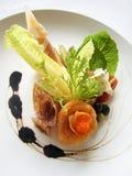Salmon salad with pepperoni stock photos