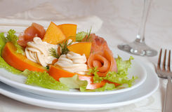 Salmon salad with persimmon and cream cheese Stock Photo