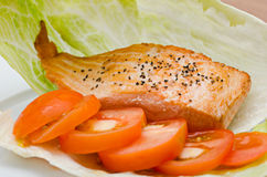Salmon and salad Stock Photos
