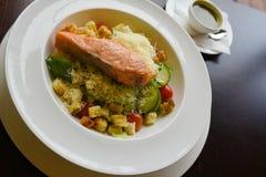 Salmon salad plate stock photography