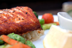 Salmon salad on a plate. A white plate with a healthy portion of salmon and salad Stock Photo
