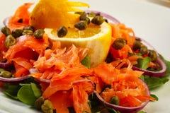 Salmon salad in restaurant Stock Photos
