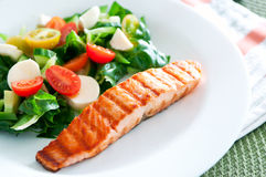 Salmon with salad Royalty Free Stock Photography