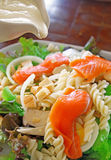 Salmon salad with tofu sauce Royalty Free Stock Images