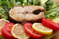 Salmon with salad tomatoes and lemon Royalty Free Stock Photo